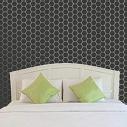 Hexagon Tiles Wall Stencil - Honeycomb Wallpaper Pattern