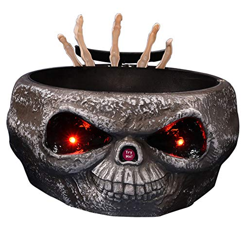 Fly Halloween Motion Activated Candy Bowl with Moving Skeleton Hands,Red LED Lights, Sound and Try Scary Prank Toy,Gray