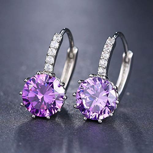 (Krassu - Fashion 10 Colors AAA CZ Element Stud Earrings for Women [Imitation Rhodium Plated])