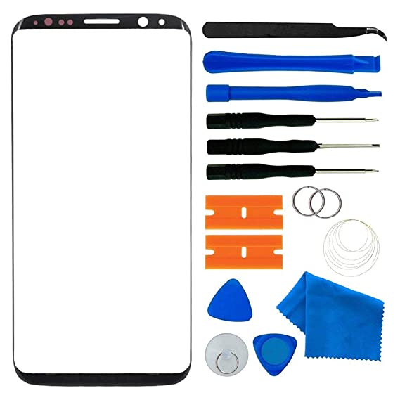 Original Galaxy S8 Screen Replacement, Front Outer Lens Glass Screen  Replacement Repair Kit for Samsung Galaxy S8 G950 Series (Galaxy S8 5 8'-  Black)