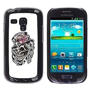GOODTHINGS ( NO PARA S3 i9300 ) Funda Imagen Diseño Carcasa Tapa Trasera Negro Cover Skin Case para Samsung Galaxy S3 MINI I8190 I8190N - rosa sombrero de copa del cráneo del brezo blanco negro