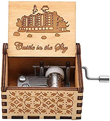1Pc Wooden Carved Hand Crank Music Box Mechanical Classic Craft Birthday Gift Christmas or Valentines Day For Home Office Decorations Pirate Wooden Hand-cranked Music Box
