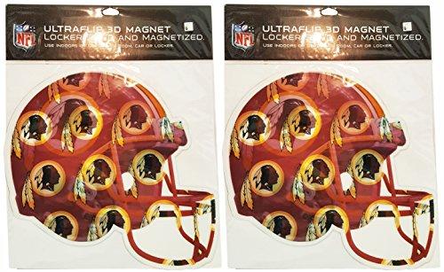 Washington Redskins 2 Piece Car (Set of 2 NFL Large Helmet 3D Magnets - 9