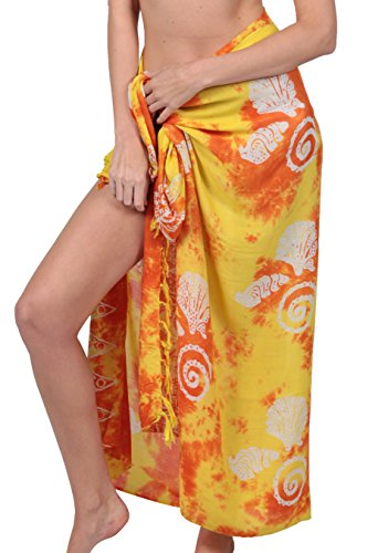 INGEAR Long Batik Print Sarong Womens Swimsuit Wrap Cover Up Pareo (Yellow Shell)