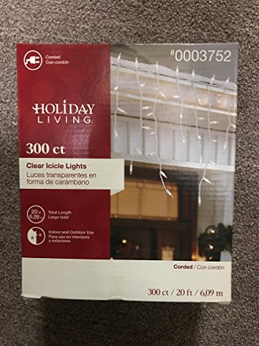 Holiday Living 300 Count Clear Icicle Lights, White Wire, 20 Feet, Style 0003752 ()