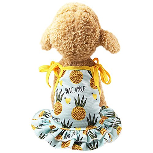 OOEOO Pet Shirt Couple Dress Puppy Dog Princess Doggie Apparel Costume Clothing (Pineapple Dress, L)