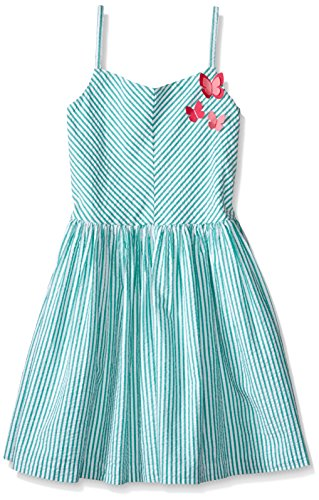 Gymboree Big Girls' Green Stripe Dress, Teal Water,
