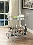 eHomeProducts Silver Finish Metal Tempered Glass 2-tier Oval Serving Wine Tea Dining Kitchen Cart with Bottle Holder