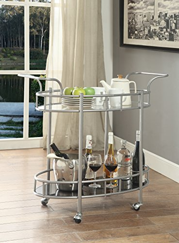 Glass Serving Cart - eHomeProducts Silver Finish Metal Tempered Glass 2-tier Oval Serving Wine Tea Dining Kitchen Cart with Bottle Holder