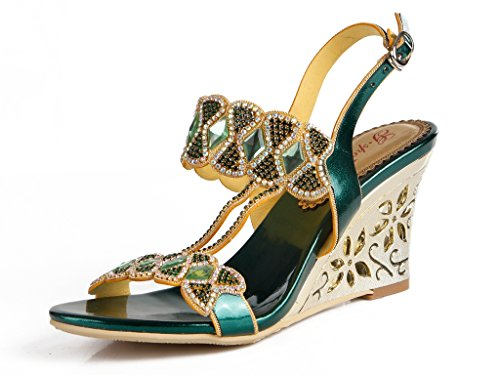 CRC Womens Elegant Wedge High Heel Suede Handmade Sparkle Rhinestone Studs Wedding Evening Party Fashion Sandals Green