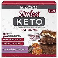 SlimFast Keto Fat Bomb Snacks, Chocolate Caramel Nut Clusters, 20 Grams, 14 Count Box