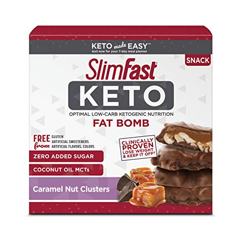 SlimFast Keto Fat Bomb Snacks, Chocolate Caramel Nut Clusters, 20 Grams, 14 Pack Box