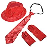BUYITNOW Sequin Gloves, Sequin Trilby Hat, Sequin Necktie Set for Cosplay Party Halloween Carnival Outfit for Kids