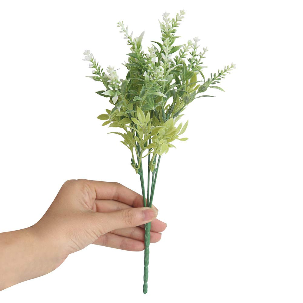 Longay 15Heads Artificial Flowers Lavender Fake Bridal Bunch Wedding Party Home Decor (White)