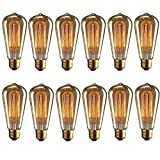KINGSO 12 Pack E27 Base 60w Vintage Edison Bulb Dimmable ST64 Antique Filament Tungsten Squirrel Cage Style 19 Anchors Incandescent Bulbs for Home Light Fixtures Decorative Glass 110v