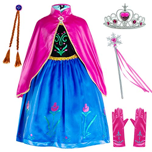Princess Anna Costumes Birthday Party Dress Up for Little Girls/Long Sleeve with Cape,Wig,Crown,Gloves 4T 5T (120cm)
