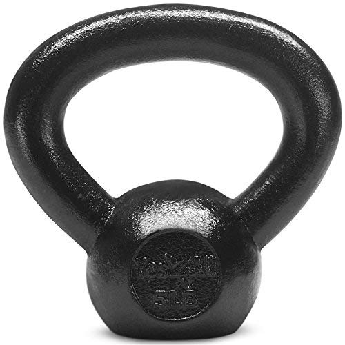 Yes4All Solid Cast Iron Kettlebell Weights Set - Great for Full Body Workout and Strength Training - Kettlebell 5 lbs (Black)