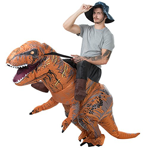 AOSKA T-Rex Riding Costumes Adult Inflatable Dinosaur Costume Fancy Dress for Halloween Party Brown