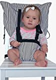 Portable, washable chair harness for baby/toddler secure with adjustable straps. Make any chair a high chair.