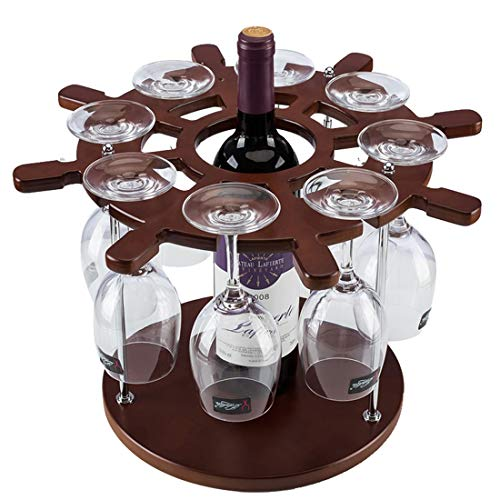 Household Items Wooden Rudder Shape Single Bottle Wine Rack (Color : (Depression Glass Stem)