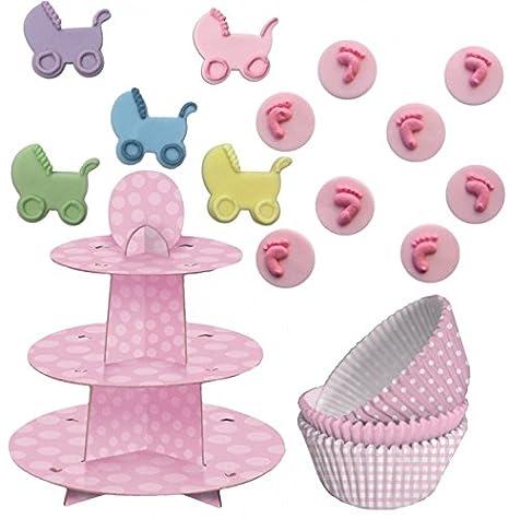 89 piezas Baby Shower Muffin dekorations Back Set Color Rosa Para hasta 75 Cupcakes: Amazon.es: Hogar