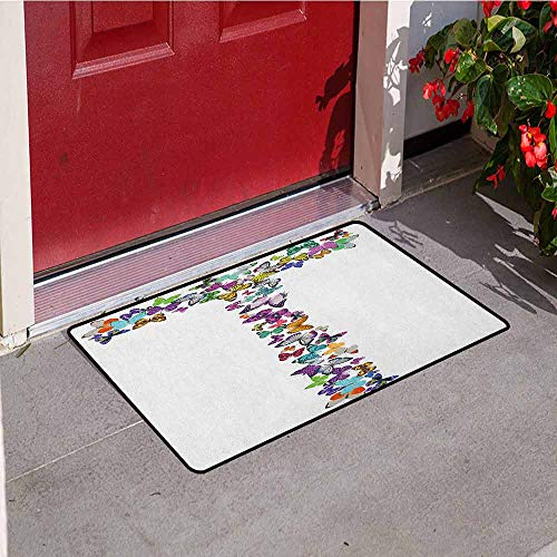 Gloria Johnson Letter T Universal Door mat Language of The Springtime Themed Alphabet Design with Butterflies and Letter T Door mat Floor Decoration W31.5 x L47.2 Inch Multicolor