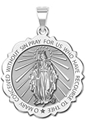 Miraculous Medal Scalloped Round 10K And14K Yellow or White Gold, or Sterling Silver