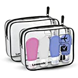 Lermende Clear Toiletry Bag TSA Approved Travel Carry On Airport Airline Compliant Bag Quart Sized 3-1-1 Kit Travel Luggage Pouch 2pcs/pack (Standard Size x2 & travel bottles4)