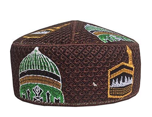 (NDA Eid Koofi Kufi Cap Men's Pakistani Turkish Muslim Designer Prayer Topi (Brown))