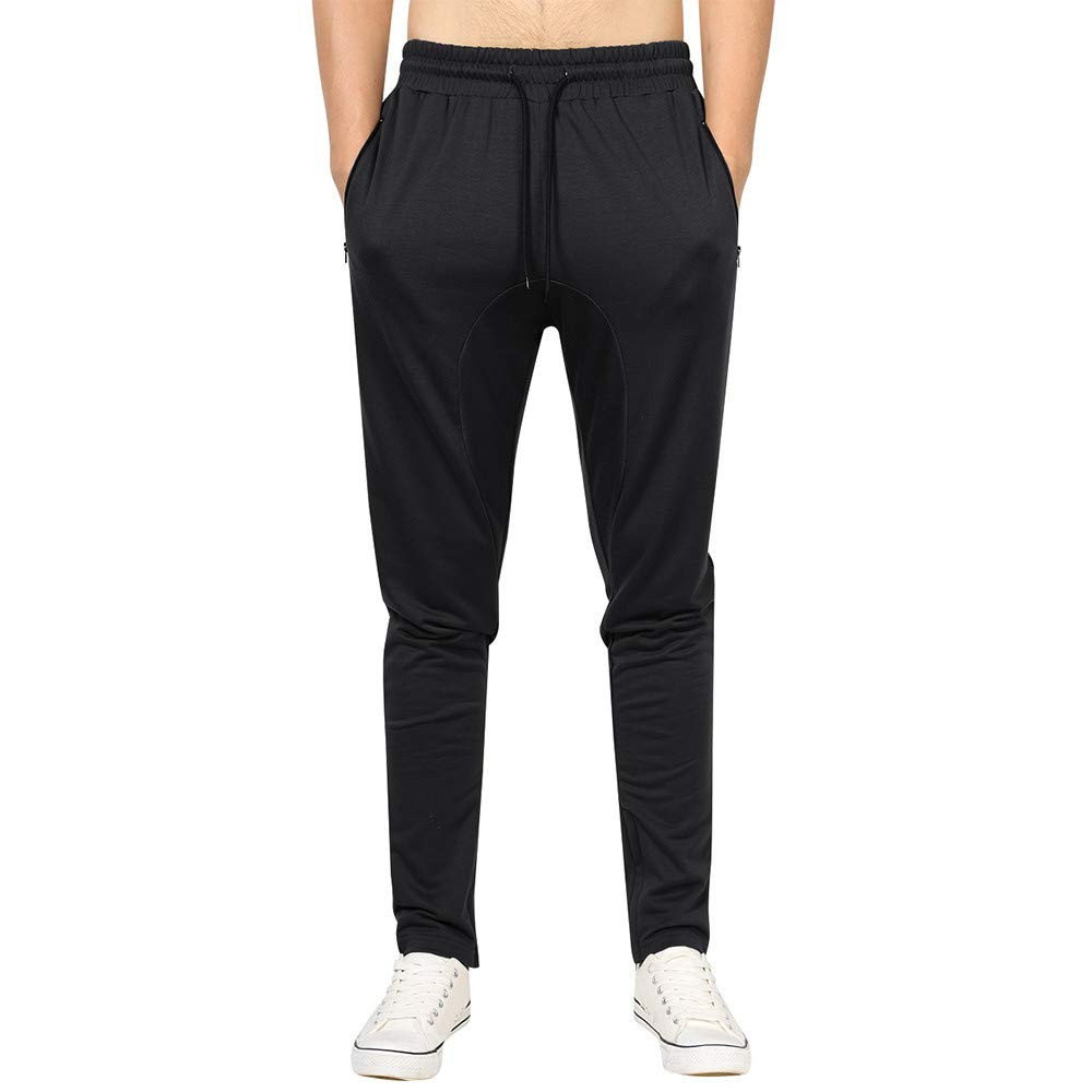 PASATO Clearace Sale! Mens Casual Autumn Winter Cotton Zipper Sports Trousers Joggers Sweatpants Pants(Black, S)