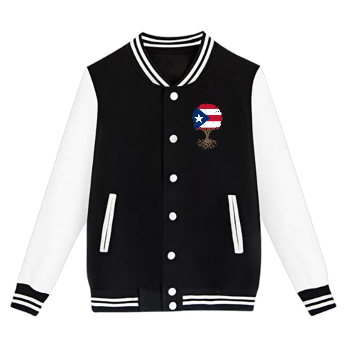 Unisex Teen Baseball Uniform Jacket Tree of Life with Puerto Rico Flag Sweater Sport Coat