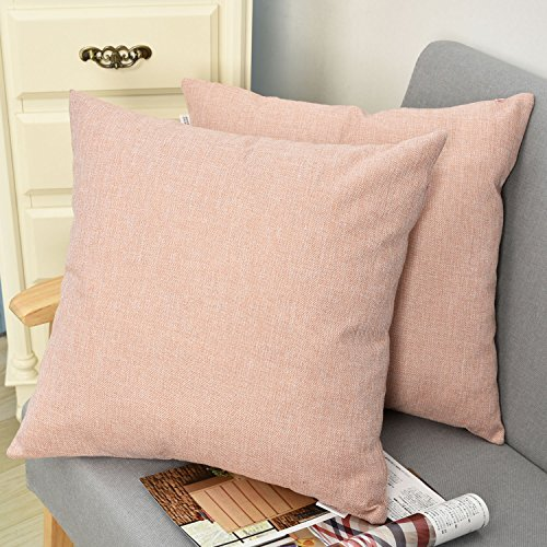 Natus Weaver Decorative Lined Linen Square Euro Throw Pillow Case Sham Cushion Cover for Doze, 18 x 18 inch(2 Pieces, Baby Pink) - Leather Euro Sham