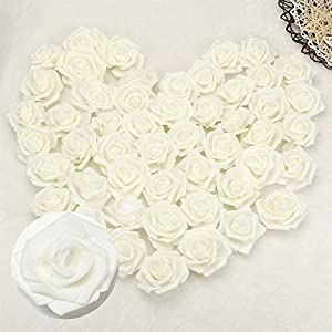 Happyyous 200PCS Artificial Roses Flowers Heads, Fake Silk Roses Heads For DIY Wedding Bouquets Centerpieces Arrangements Party Baby Shower Home Decorations - 3X1.4X3in 52