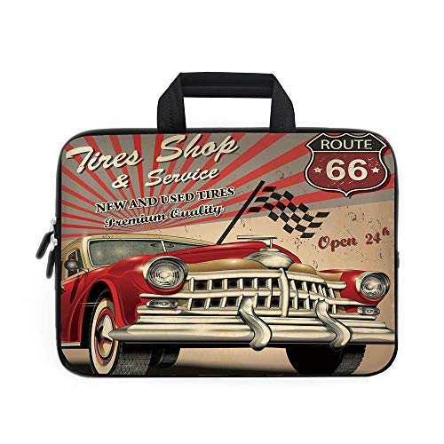 Cars Laptop Carrying Bag Sleeve,Neoprene Sleeve Case/Tires Shop and Service Route 66 Emblem Advertisement Retro Style Poster Print/for Apple Macbook Air Samsung Google Acer HP DELL Lenovo AsusRed Grey