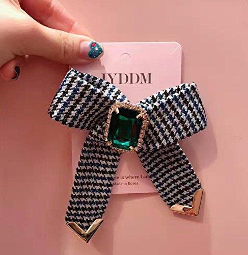 Tkhne韓国ショッピングDongdaemun購入RealショットCheckeredダイヤモンドクリスタルリボンブローチピンバッジWildの商品画像