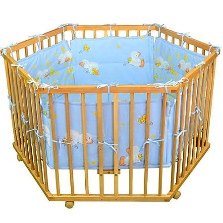 Stoffeinlage Baby Krabbelgitter inkl HONEY BEE Laufgitter Laufstall 6-eckig BLAU-Einlage Ente