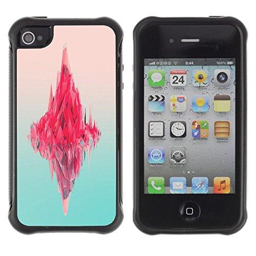 iPhone 4 / iPhone 4S , Iceberg Pink Ocean Neon Art Deep Blue