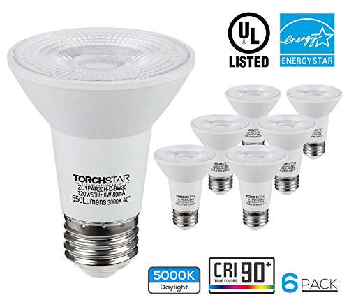 TORCHSTAR PAR20 LED Light Bulb, Wet Location Dimmable, 8W 50W Equiv, High CRI90 Flood Light Bulb, 5000K Daylight, E26 Medium Screw Base, Energy Star & UL Listed Spotlight, 3 Years Warranty, Pack of 6 ()