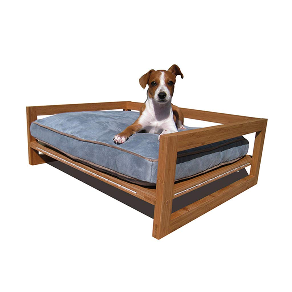 Pet Solid Wood Bed Dog Cat Litter Suede Keji Removable and Washable Four Seasons Universal 62.7 × 53.3 × 23 (cm) bluee Mattress