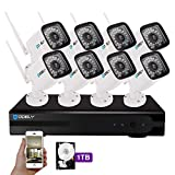 Hodely 8CH 1080P NVR WiFi Set 720P 3.6mm 36-LED Waterproof IP Camera US Plug 1TB HDD