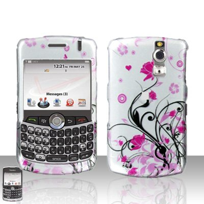 Pink Flower Vine Heart Design Snap on Hard Cover Protector Faceplate Skin Case for Blackberry Curve 8300 8310 8320 8330 + Belt Clip