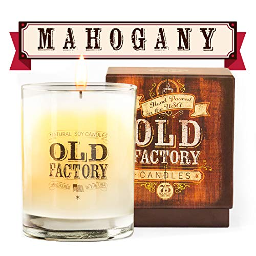 Old Factory Scented Candles - 11-Ounce Soy Candle - Top (Mahogany) (Candle Mahogany Scented)