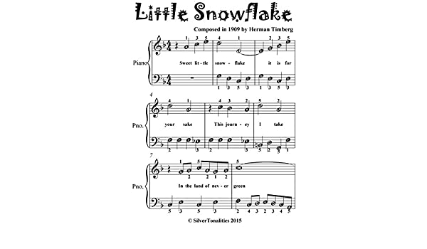 Little Snowflake Easiest Piano Sheet Music for Beginner Pianists