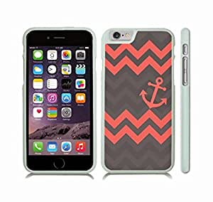 Case Cover For LG G2 with Chevron Pattern Salmon/ Charcoal Grey Stripes Salmon Anchor Snap-on Cover, Hard Carrying Case (White)
