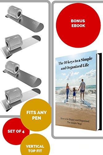 Pen Loop Holder Clips - 4 Pack Metal Top Clips for Clipboard, Planner, Calendar, Sketchbooks & Journals like Leuchtturm, Rhodia, Levenger Circa Bonus: Ebook Fit Any Size Pen by VerneNation