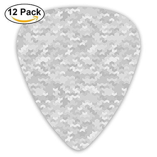 Newfood Ss Puzzle-Like Pattern With Symmetric Fractal Pieces In Smokey Tones Modern Guitar Picks 12/Pack Set