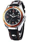 (US) LYMFHCH Mens Boyfriend Orange Black Sport Quartz Leather Wrist Watch Gift ORK062