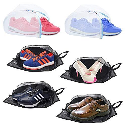 Plusmart Travel Shoe Bags, Transparent Nylon Shoe Washing Bag with Zipper for Men & Women, 6 Pack(4 Shoe Bags & 2 Shoe Washing Bags)