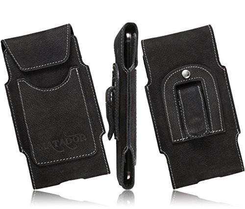 Matador Echtleder Slim Design Tasche für Apple iPhone 6/6s Plus (5.5) Handytasche Gürteltasche Vertikaltasche in Schwarz mit Gürtelclip/Gürtelschlaufe und EC./Kreditkartenfach