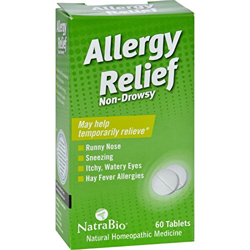 NatraBio Allergy Relief Non-Drowsy - 60 Tablets - Natural Homeopathic - Convenient quick dissolve - Drowsy Non Relief Natra Allergy Bio Tablets